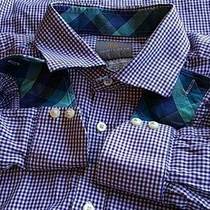 Thomas Dean men's long sleeve check shirt LG